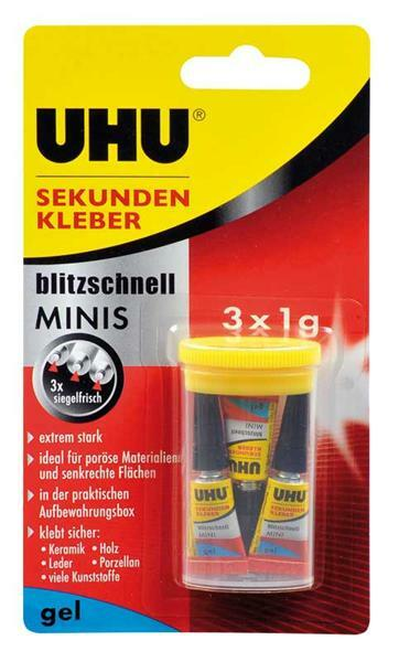 UHU secondenlijm - mini's gel, 3 x 1 g
